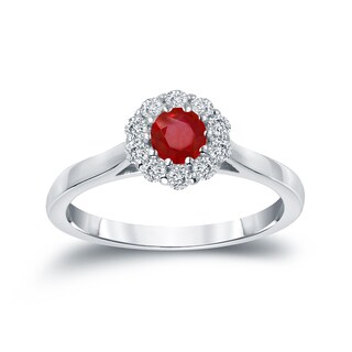 Auriya 14k Gold 1/3ct Ruby and 1/5ct TDW Round-cut Diamond Halo Engagement Ring (Ruby, I1-I2)