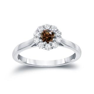 Auriya 14k Gold 1/2 TDW Round-Cut Brown Diamond Halo Ring (Brown, I1-I2)