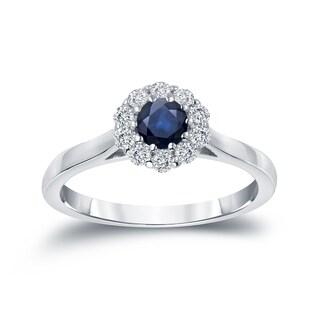 Auriya 14k Gold 1/3ct Blue Sapphire and 1/5ct TDW Round Diamond Halo Engagement Ring (H-I, I1-I2)