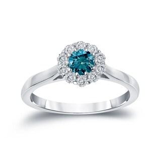 Auriya 14k Gold 1/2ct TDW Round-cut Blue Diamond Halo Engagement Ring (Blue, I1-I2)