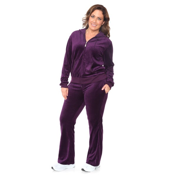 White Mark Women's Plus Size Velour Suit XL Size in Purple (As Is Item) 17172328