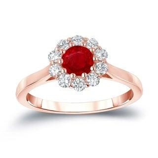 Auriya 14k Gold 1/2ct Ruby and 1/3ct TDW Round Diamond Halo Engagement Ring (Ruby, I1-I2)