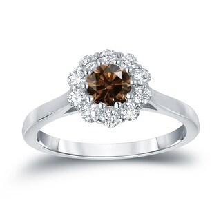 Auriya 14k Gold 3/4ct TDW Round-Cut Brown Diamond Halo Ring (Brown, I1-I2)