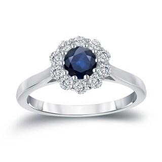 Auriya 14k Gold 1/2ct Blue Sapphire and 1/3ct TDW Round Diamond Halo Engagement Ring (H-I, I1-I2)