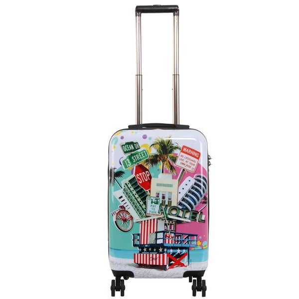 Triforce Francisco Ceron Pop Art South Beach 22-inch Carry-on Spinner Upright Suitcase