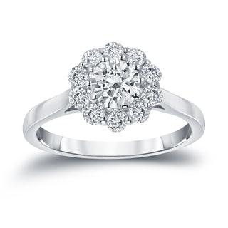 Auriya 14k Gold 1ct TDW Round-cut Diamond Halo Engagement Ring (H-I, I1-I2)
