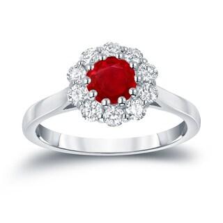 Auriya 14k Gold 3/5ct Ruby and 1/2ct TDW Round Diamond Halo Engagement Ring (Ruby, I1-I2)