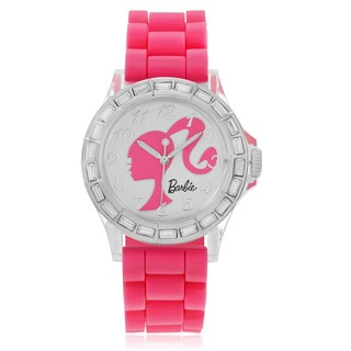 Disney Women's Barbie White Dial Pink Strap Watch