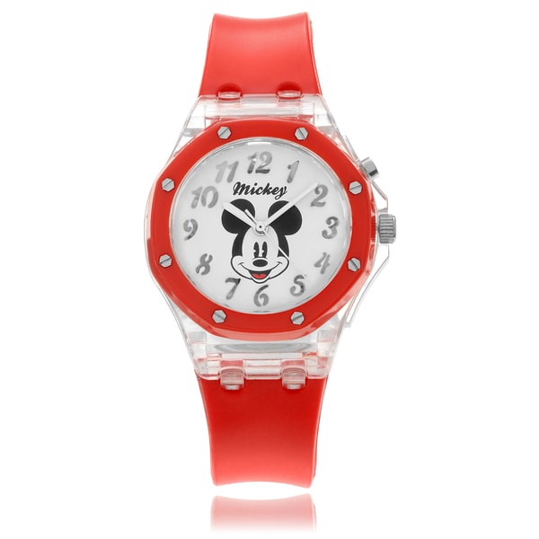 Disney Women's Mickey Mouse Flashing Lights Red Strap Watch