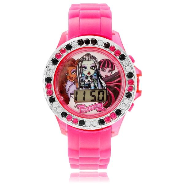 Disney Children's Monster High Rhinestone Pink Band Watch