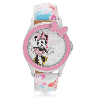 Disney Minnie Mouse Analog Flower Leather Strap Watch