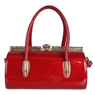 Rimen and Co. Faux Patent Leather Kiss-lock Structured Handbag