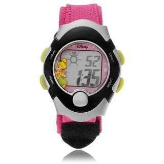 Disney Tinkerbell Digital Pink and Black Velcro Strap Watch