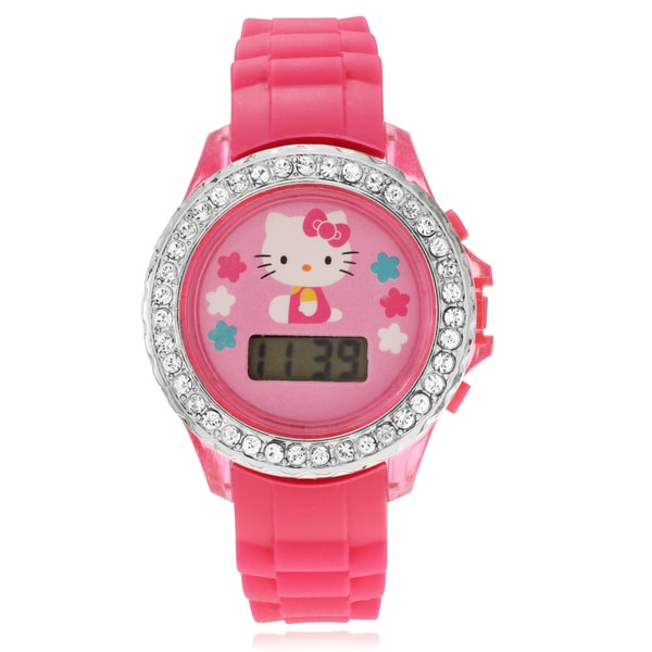 Hello Kitty Children's Hello Kitty Rhinestone Flashing Light Strap Watch