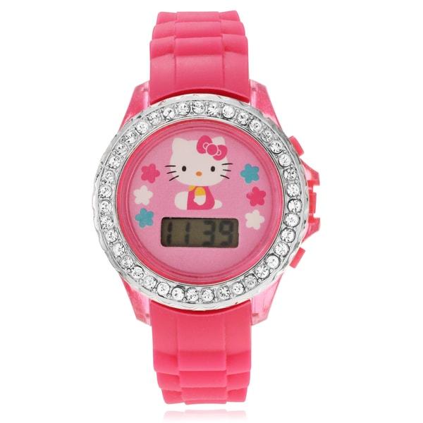 Hello Kitty Children's Hello Kitty Rhinestone Flashing Light Strap Watch