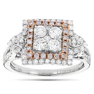 Luxurman 14k Two-tone Gold 1 2/5ct TDW Pink Diamond Cluster Ring (G-H, VS1-VS2)