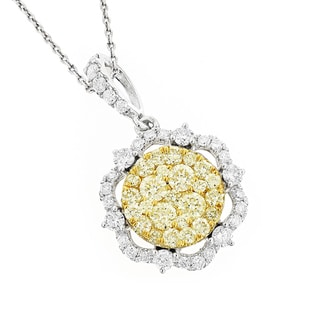 Luxurman 14k Two-tone Gold 1 3/4ct TDW Yellow Diamond Flower Pendant (G-H, VS1-VS2)