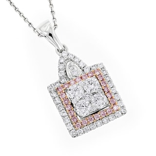 Luxurman 14k Gold 1 1/5ct TDW White and Pink Diamond Pendant (G-H, VS1-VS2)