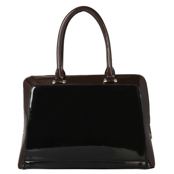 Rimen and Co. Shiny Faux Leather Mix Match Colors Tote