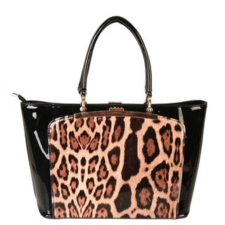 Rimen and Co. Animal Print Leopard Patent Leather Handbag