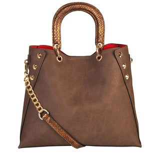 Rimen and Co. Snakeskin Handle and Strap Hobo Tote