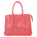Diophy Laser Cut Stars Pattern Studs Dual Compartments Handbag