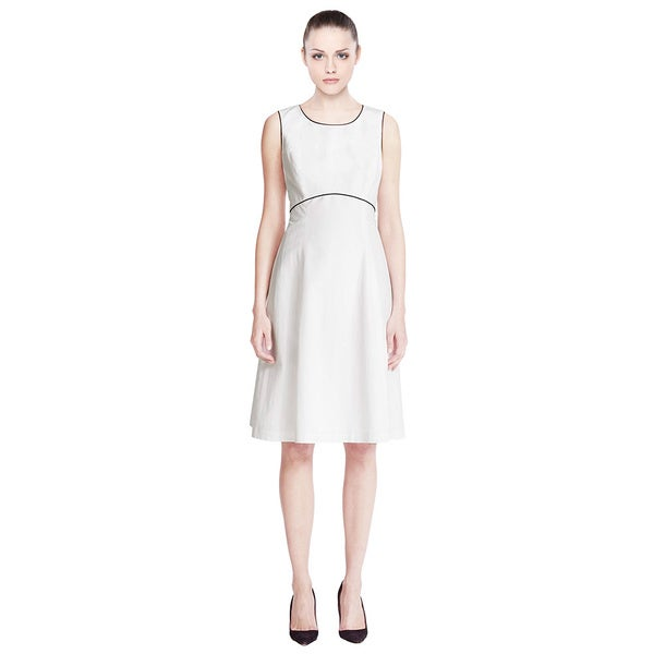 Lafayette 148 Graphic Edge Contrast Trim Piping Linen Blend Dress