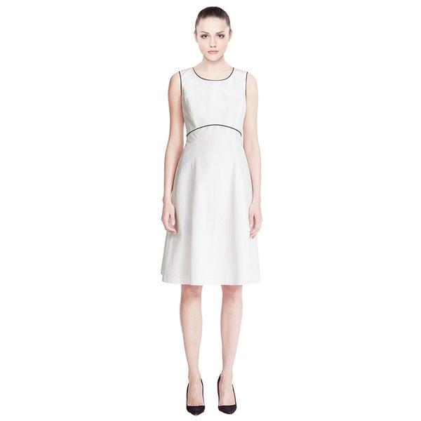 Lafayette 148 Graphic Edge Contrast Trim Piping Linen Blend Dress