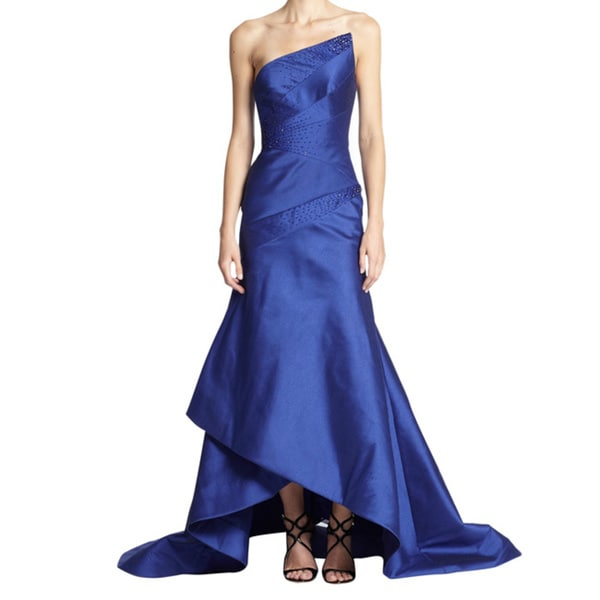 ML Monique Lhuillier Luminious Satin Strapless Asymmetrical Dress