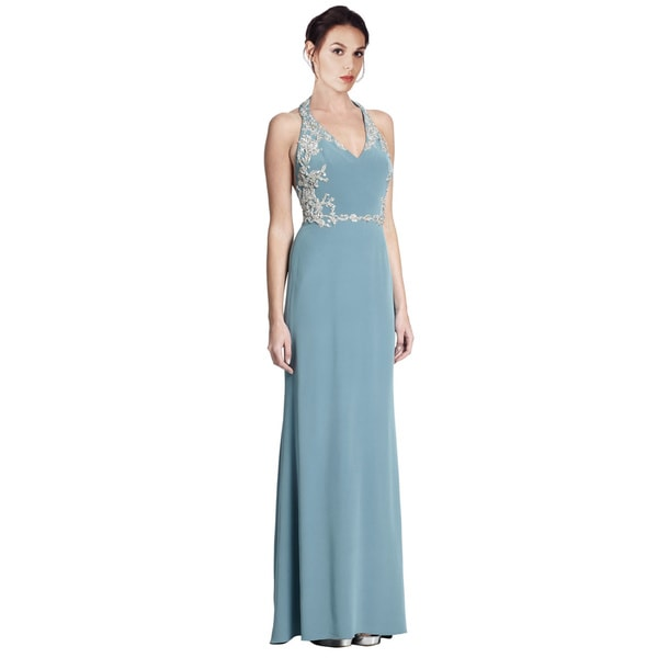 Marchesa Notte Sparkling Beaded Embellished Silk Halter Gown