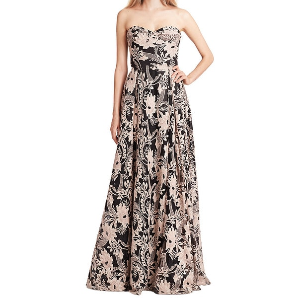 Marchesa Notte Black Strapless Sequined Embroidery Gown