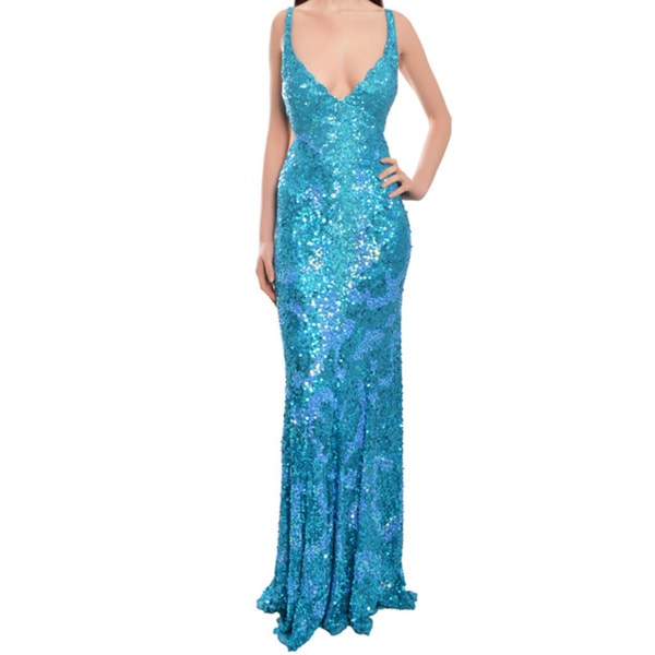 Mac Duggal Allover Sequin Cut Out Prom Evening Gown