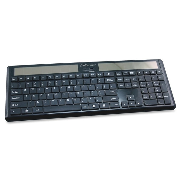 "Compucessory Wireless Solar Keyboard, 16-1/8""x6""x7/8"", Black - 1/EA"