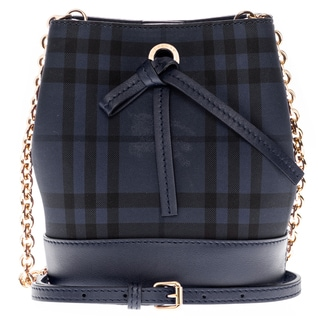 Burberry Overdyed Horseferry Check Dark Blue Baby Bucket Bag