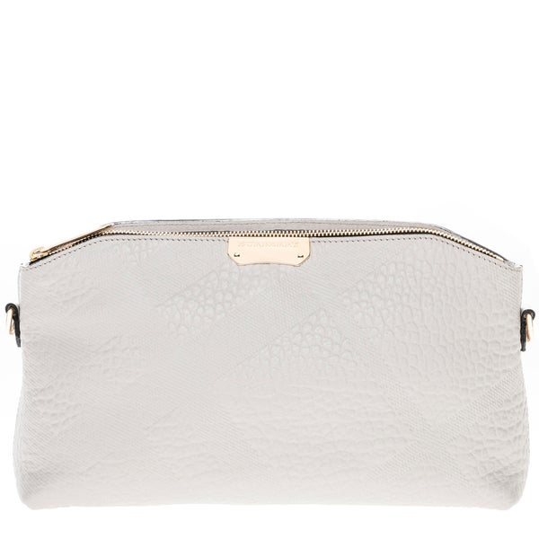 Burberry White Small Embossed Check Leather Clutch Bag