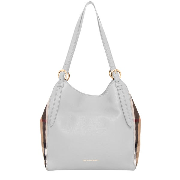 Burberry Light Grey Small Canter Leather and House Check Tote