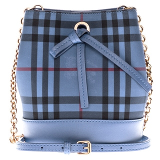 Burberry Overdyed Horseferry Check Blue Baby Bucket Bag