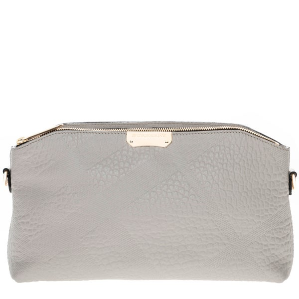 Burberry Grey Small Embossed Check and Leather Clutch Bag