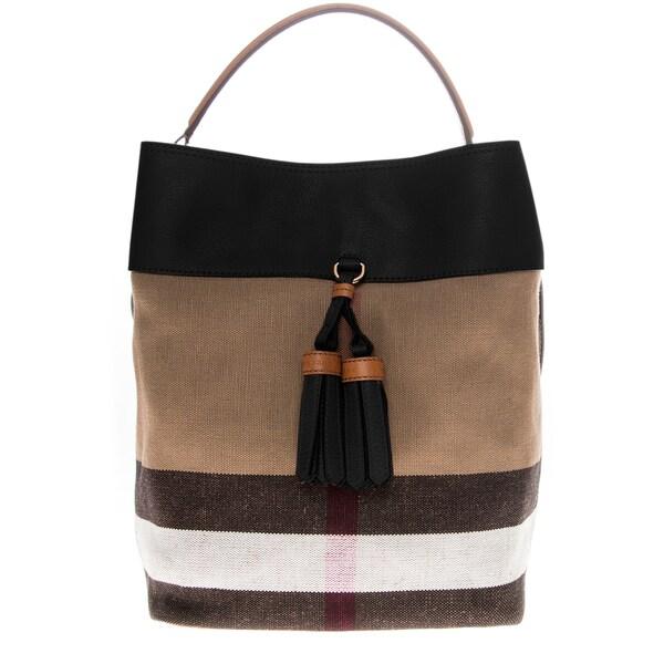 Burberry Black Medium Canvas Check and Leather Ashby Hobo Bag