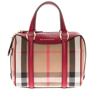 Burberry Small Red Leather Alchester House Check Bowler Bag