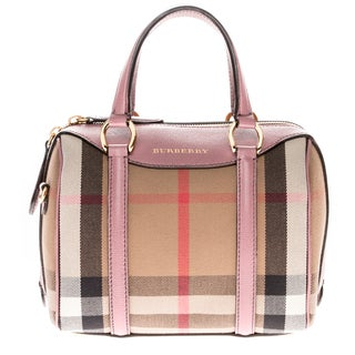 Burberry Pink Small Alchester House Check and Leather Bowler