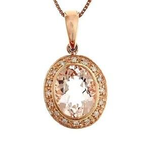 Anika and August 10k Rose Gold Morganite and 1/9ct TDW Diamond Pendant (G-H, I1-I2)
