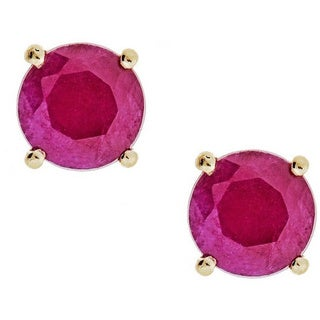 Anika and August 10k Yellow Gold Indian Ruby Earrings