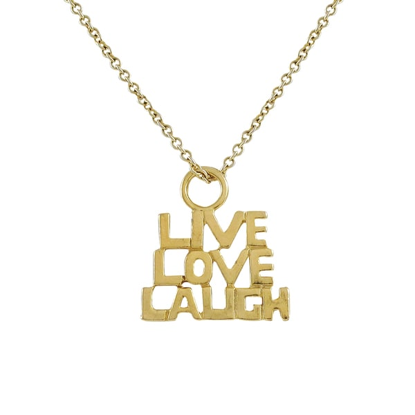 Gold Finish Live Love Laugh Sentiment Pendant Necklace