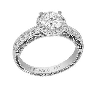 Verragio 18k White Gold Cubic Zirconia Center and 1/3ct TDW Diamond Antique-style Engagement Ring (F-G, VS1-VS2)