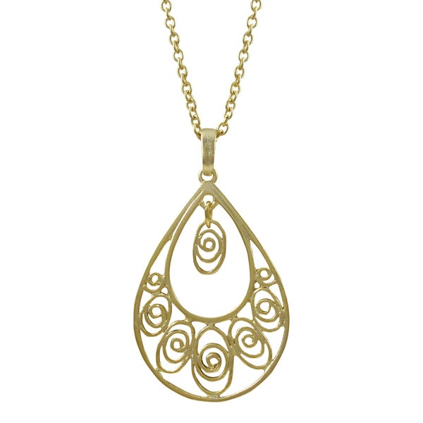 Gold or Rhodium Finish Filigree Teardrop Pendant Necklace