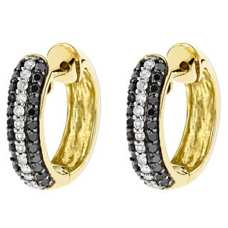 Luxurman 10k Yellow Gold 5/8ct TDW Black and White Diamond Hoop Earrings (H-I, SI1-SI2)