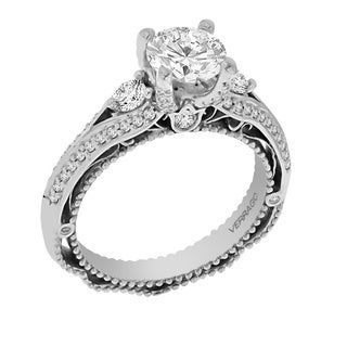 Verragio 18k White Gold Cubic Zirconia and 2/5ct TDW 3-stone Diamond Ring (F-G, VS1-VS2)
