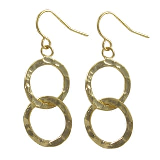 Gold Finish Hammered Circle Dangle Earrings