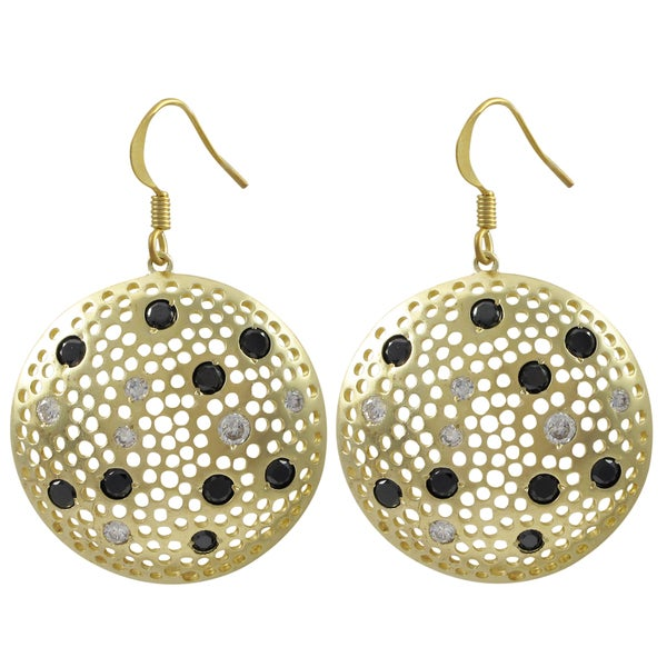 Matte Gold Finish Black and White Cubic Zirconia Disc Earrings
